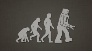 Evolution - human robots and cyborgs